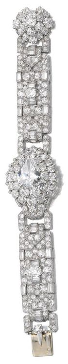 Important Art Deco diamond bracelet by Cartier, circa 1935.