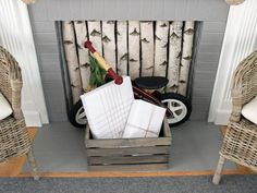 Birch Screen - 10 Rustic-Chic Holiday Decorating Ideas on HGTV...even regular logs would work in my dear daughter's home....for you Rachel Anne!!!