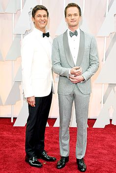 One shade of gray! The night's host (with husband David Burtka) rejected basic black in favor of a slate flannel tuxedo and tie by Brunello Cucinelli, Ox and Bill cufflinks, and Bally shoes.