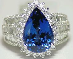 8.18ct 14kt gold natural AAA grade Tanzanite white diamond engagement ring