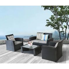 New Honn 4 Piece Sofa Seating Group with Cushions by Brayden Studio Patio Garden Furniture. offers on top store Clearance Outdoor Furniture, Outdoor Furniture Sets, Garden Furniture, Sofa Seats, Sofa Bench, Sectional Sofa, Building A Floating Deck, Rattan Sofa, Wicker