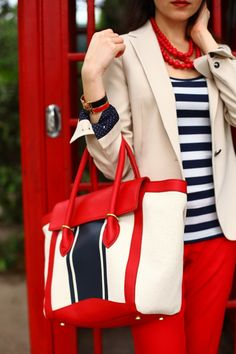Red pants and cream blazer outfit Fashion Mode, Look Fashion, Womens Fashion, Fashion Trends, Blue Fashion, Vintage Fashion, Preppy Fashion, 1950s Fashion, Victorian Fashion