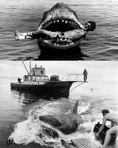 Filming the movie Jaws Jaws Movie, Film Movie, Jaws Film, Sci Fi Horror, Horror Movies, Great Films, Good Movies, Shark In The Ocean, Horror Posters