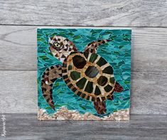 Turtle Mosaic by Kupava Mosaic Wall, Mosaic Glass, Stained Glass, Mosaic Animals, Mosaic Garden, Custom Glass, Bathroom Art, New Home Gifts, Summer Crafts