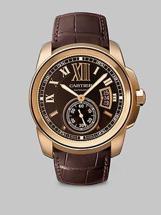 Cartier Calibre de Cartier 18K Pink Gold & Alligator Chocolate Watch at London Jewelers!