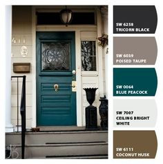 Front door colors with tan house brown exterior paint 57 Ideas Teal Front Doors, Teal Door, Front Door Paint Colors, Exterior Paint Colors For House, Painted Front Doors, Paint Colors For Home, Teal Paint Colors, Neutral Paint, Gray Paint