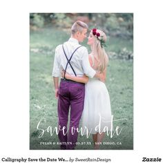 Shop Calligraphy Save the Date Wedding Photo Postcard created by SweetRainDesign. Save The Date Photos, Save The Date Postcards, Photo Postcards, Save The Date Cards, Calligraphy Save The Dates, Wedding Calligraphy, Modern Wedding Invitations, Bridal Shower Invitations, Invites