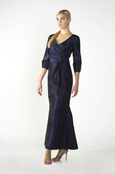 Marisa Baratelli -Thai Silk - Vivacious beaded long surplice trumpet dress with double silk sash. Please schedule your appointment today! www.idoappointments.com