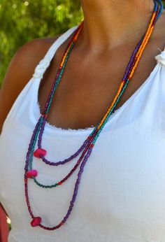 Long Triple Strand  Colorful Asymmetrical by uniquebeadingbyme