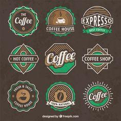 Logos de café do vintage Vetor grátis                                                                                                                                                                                 Mais