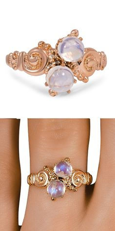Vintage moonstone scroll ring