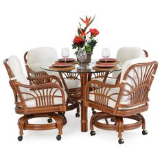 Biscayne Rattan Swivel Tilt Caster Dining Set 5500 by Watermark Living- Rattan and Wicker Furniture Design Center Resin Wicker Furniture, Cottage Furniture, Upholstered Furniture, Outdoor Furniture Sets, Wicker Dining Set, Wicker Chairs, Dining Sets, Dining Tables, Dining Room