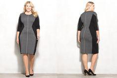 #PlusModelMag Plus Fashion Find: Dressbarn Striped Colorblock Sweater Dress #PLUSmodelmag