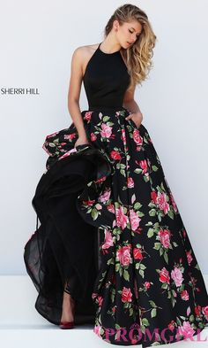 Image of floor length halter top floral print dress Detail Image 2
