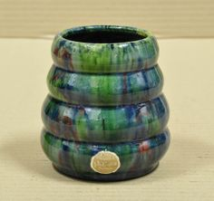 11cm x 10.5cm John Campbell Pottery Multi Coloured Red, Green  Blue Beehive Vase