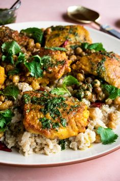 A dinner recipe that deserves to be made over and over again: crispy turmeric chicken with coconut chile rice and cilantro lime vinaigrette. Appetizer Recipes, Dinner Recipes, Dinner Ideas, Pork Recipes, Chicken Recipes, Cilantro Lime Vinaigrette, Turmeric Recipes, How To Cook Chicken, Chicken Feed