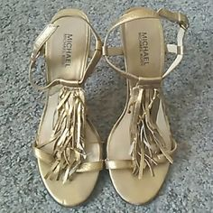 Michael Kors Gold Fringe Heel Sandals Gorgeous Michael Kors sandals. Shows signs of wear but these Beauts have a lot of life left in them. Sooooo cute, I wish they still fit me. Must go! Make me an offer MICHAEL Michael Kors Shoes Sandals