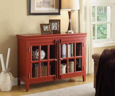I found a Red Glass 2-Door Chest at Big Lots for less. Find more at biglots.com!