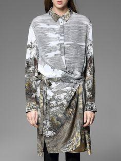 Shop Midi Dresses - Asymmetrical Casual Shirt Collar Long Sleeve Silk Midi Dress online. Discover unique designers fashion at StyleWe.com.