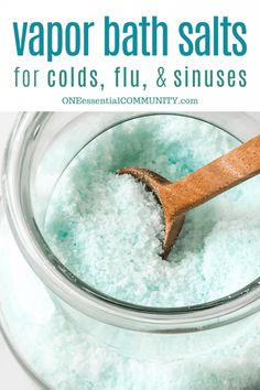 vapor bath salt recipe for colds flu sinuses and congestion -- made with essential oils. Great for muscle aches stuf. Healthy Food Choices, Healthy Eating Tips, Healthy Foods To Eat, Health And Fitness Magazine, Health And Fitness Tips, Herbal Remedies, Natural Remedies, Allergy Remedies, Burn Calories Fast