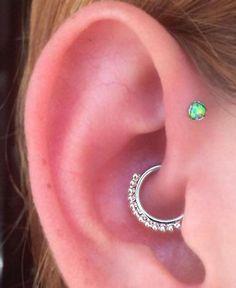 Green Opal Forward Helix Piercing Stud at MyBodiArt