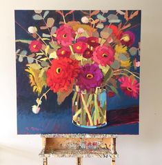 Just finished the big version of  Blowing Rock Blooms.  I love these colors! #melaniemorrisart #itsallaboutcolor #blowingrock