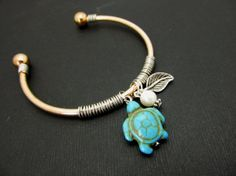 Turtle Bangle Bracelet Turqouise TurtleGold Charms by 4Everinstyle, $28.00  #homspunsociety #jewelry #bracelet