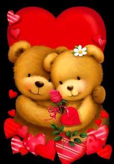 Valentine's - Gabi Murphy Teddy Bear Hug, Teddy Bear Cartoon, Tatty Teddy, Cute Teddy Bears, Calin Gif, Coeur Gif, Teddy Beer, Image Halloween, Rice Paper Decoupage
