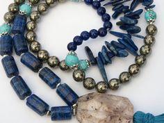 Long lapislazuli necklace Boho tassel necklace by MONARCHPROJECT