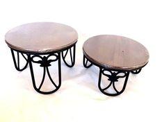 2 Wrought Iron Plate Stands & 2 Rich Brown Wood Shelves Shelf Longaberger NEW