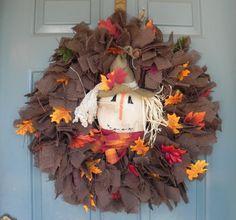 "Brown Burlap Wreath Scarecrow Harvest Wreath Halloween Wreath ""THE KRISTIN"""