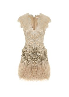 Matthew Williamson Lacquer Lace Feathered Dress with Belt