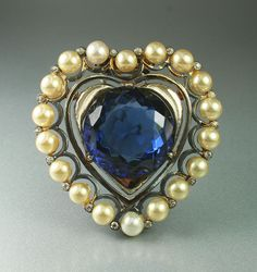 Ralph DeRosa Heart Shaped Sapphire Glass Faux Pearl Rhinestone Sterling Fur Clip   eBay