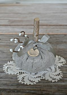 Rustic Linen Pumpkin by timewashed on Etsy, $14.00