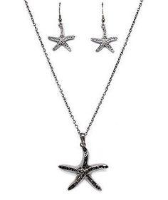 "Starfish Sea Life Necklace Earrings Set Shell Black Crystal 17.5"" USA Seller #Unbranded #Pendant"