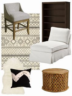 Our New Great Room Vibe // gray nailhead stools + white chaise lounges + dark bookshelves + aztec print rug + carved tribal coffee table + faux sheepskin + black and white tie dye pillow