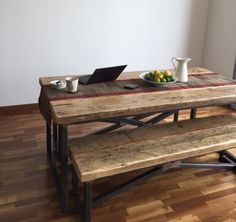Industrial Mill Dining Table And Benches In Dubai