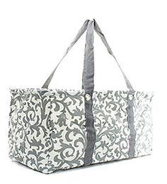 Grey Damask Print Utility Tote - Handbags, Bling & More!