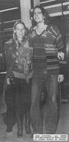 Joni and James Taylor arriving in London, as featured in NME in 1970