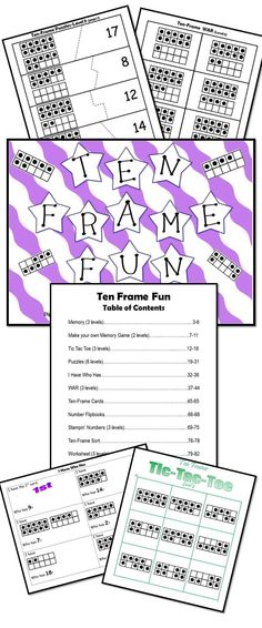 """Ten-Frame Fun: 82 page packet filled with differentiated & engaging games & activities using ten-frames to build number sense! The differentiated games and activities include 3 Memory games, 2 """"Make Your Own Memory Game"""" activities with student/teacher checklist, 6 Tic Tac Toe game boards, 6 puzzles, I Have Who Has, 3 sets of cards for WAR, 40 ten-frame cards for Number Talks, 1 flipbook activity, 3 """"Stampin' Numbers"""" activities, 1 sort, and 3 assessment sheets."""