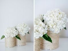 rope vase...these would be so easy to recreate around tin cans