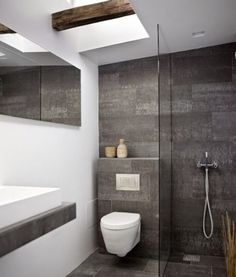 Modern Small Bathroom Design The Basic Components of Modern Bathroom Designs Modern Small Bathroom Design. Incorporating a modern bathroom design will give you a more … Modern Small Bathrooms, Small Bathroom Tiles, Bathroom Toilets, Bathroom Design Small, Laundry In Bathroom, Bathroom Flooring, Beautiful Bathrooms, Bathroom Modern, Bathroom Grey