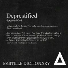 Bastille Dictionary 3 'Deprestified' // Dan Smith Bastille Wild World Quote