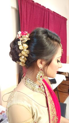"Pratibha Nalla Studio ""Hair"" album - Bridal Hairstyle for Long Hair Bridal Wedding Hairstyle, Mehendi Hairstyle. Bridal Hair Buns, Hairstyle Wedding, Mehendi, Bun Hairstyles, Album, Long Hair Styles, Studio, Blouse, Girls"