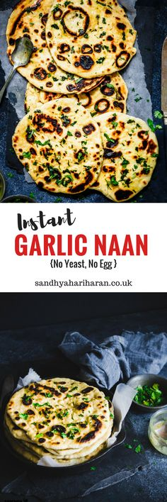 The only Instant Garlic Naan recipe you will ever need. No Yeast, No Egg and really easy to make on your skillet/tava. #naan #flatbread #sandhyaskitchen #instantrecipes
