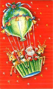 Santa & His Reindeer in a Hot Air Balloon...