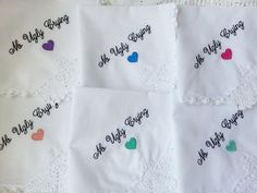 Embroidered Wedding Handkerchief  Set of 6  No by TheBrideandGroom, $75.00