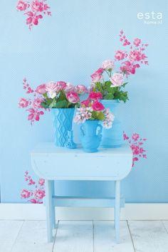 papier behang rozen roze en turquoise