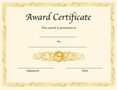 Award Certificate Template  Certificates Templates