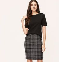 """Woolly Plaid Pencil Skirt - Infused with luxe wool, we're drawn to the indulgent feel of this polished pencil. Back zip. Back vent. Lined. 22 1/2"""" long."""
